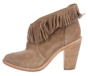 Joie Suede Fringe Ankle Boots
