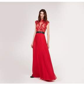 Amanda Wakeley | Red Embellished Silk Tulle Dress | L | Red