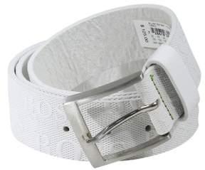 HUGO BOSS Torialo Men's White Genuine Leather Embossed Logo Belt