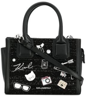 Karl Lagerfeld plaque detail shoulder bag