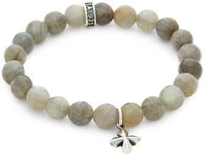King Baby Studio Men's Labradorite Bead Cross Bracelet