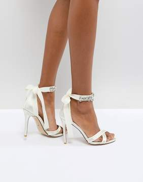 Dune London Dune Bridal Bridal Morgen Heeled Sandal with Gem Ankle Tie