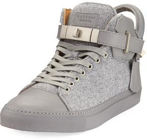 Buscemi 100mm Wool Mid-Top Sneaker, Medium Gray