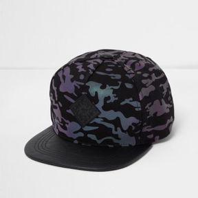 River Island Boys black iridescent camo flat peak cap