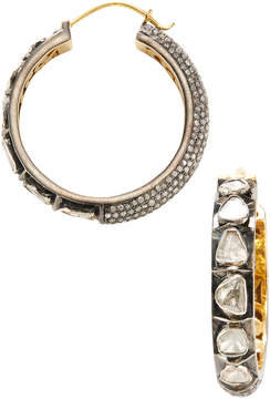Artisan Women's 18K Gold Diamond Hoop Earrings