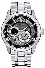 Bulova Men's Stainless Steel Black Dial Automatic Watch
