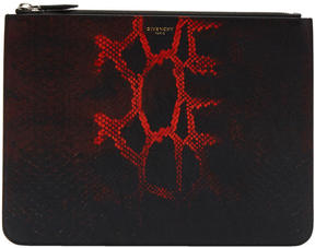 Givenchy Black and Red Python Dégradé Zip Pouch