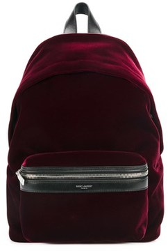 Saint Laurent Women's Burgundy Velvet Backpack. - RED - STYLE