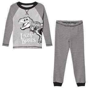 Joules Dark Grey Stripe Dinosaur Pyjamas