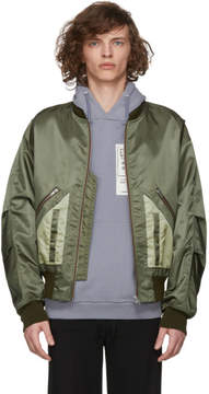 Maison Margiela Green Nylon Bomber Jacket