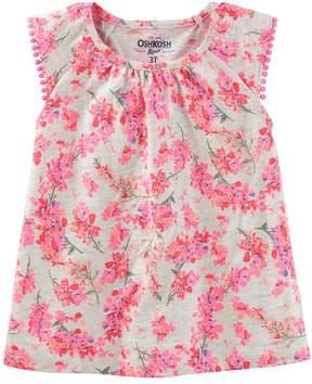 Osh Kosh Oshkosh Bgosh Girls 4-12 Pom Pom Trim Flutter Sleeve Tee