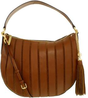 Michael Kors Women's Large Brooklyn Applique Convertible Suede Leather Top-Handle Bag Hobo - Caramel - CARAMEL - STYLE