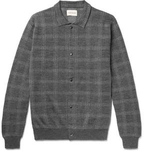 Oliver Spencer Malden Checked Knitted Merino Wool Cardigan