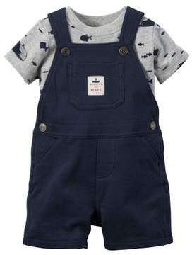 Carter's Baby Clothing Outfit Boys 2-Piece Tee & Shortalls Set Sea Animals Navy NB
