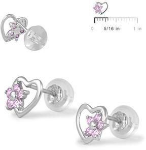 Ice 14K White Gold Heart Flower Girls' Stud Earrings
