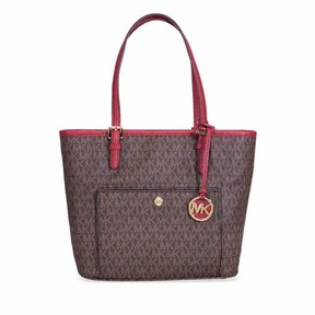 Michael Kors Jet Set Medium Top Zip Logo Tote - Brown and Mulberry - BROWN / MULBERRY - STYLE