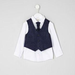 River Island Mini boys navy paisley vest set