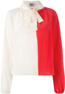 Fausto Puglisi contrast pussy bow blouse