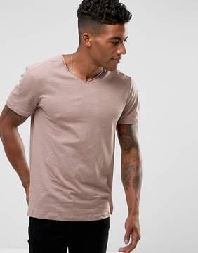New Look Raw Hem V-Neck T-Shirt In Dusty Pink