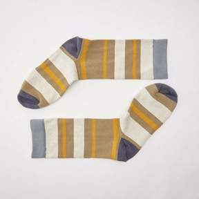 Blade + Blue Khaki, Cream & Orange Stripe Socks