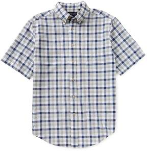 Roundtree & Yorke Short-Sleeve Checked Linen Blend Sportshirt