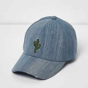 River Island Mens Blue wash denim cactus print cap