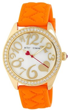 Betsey Johnson Women's Hearts Silicone Watch