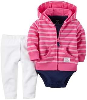 Carter's 3 Piece Cardigan Set, Pink/White Stripes, Newborn
