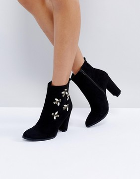 Glamorous Black Embellished Bee Heeled Ankle Boots