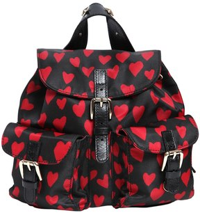 Hearts Print Nylon Mini Backpack