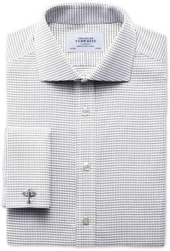 Charles Tyrwhitt Slim Fit Spread Collar Non-Iron White and Black Cotton Dress Shirt French Cuff Size 17.5/34