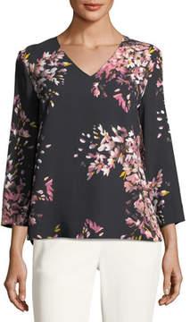 Escada V-Neck Long-Sleeve Floral-Print Tunic
