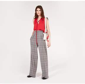 Amanda Wakeley | Prince Of Wales Check Wide Leg Trousers | Xl | Silver