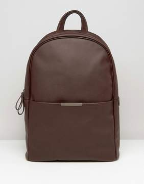 Asos Backpack In Burgundy Faux Leather