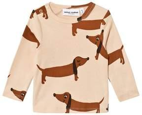 Mini Rodini Beige Long Sleeve Sausage Dog Print Tee