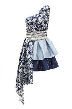 Christian Pellizzari Blue Asymmetric Dress With Silver Sequin Waistband.
