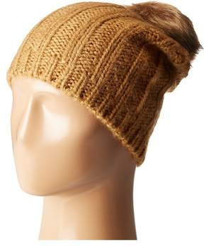 Hat Attack Rib Slouchy with Faux Fur Pom Knit Hats