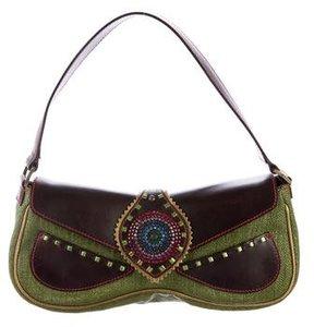 Giuseppe Zanotti Embellished Raffia Handle Bag