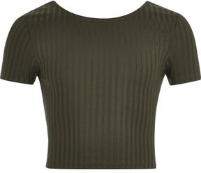 River Island Girls khaki green scoop neck crop top