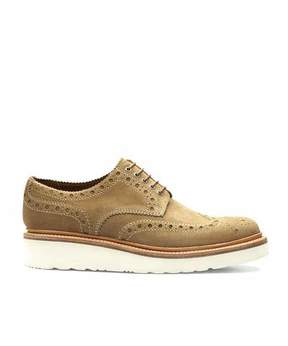 Grenson Shoes Archie Brogue in Tobacco Suede