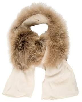 Carolina Herrera Fox-Trimmed Wool Scarf