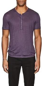 John Varvatos Men's Slub Linen Short-Sleeve Henley