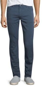 Neiman Marcus Stretch-Cotton Five-Pocket Pants, Dark Gray