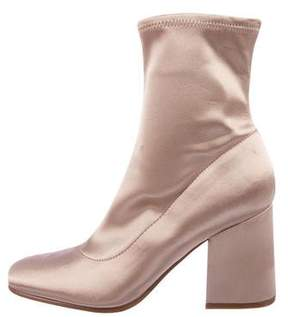 Marc Fisher Satin Round-Toe Ankle Boots