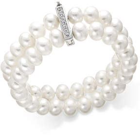 Belle de Mer Cultured Freshwater Pearl (8-1/2 mm) and Cubic Zirconia Two-Row Bracelet in Sterling Silver