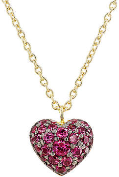 Finn Women's Ruby Puffed Heart Necklace