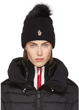 Moncler Black Cashmere and Fur Pom Pom Beanie