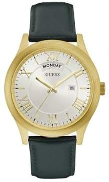 GUESS W0792G9 Men's Green Leather Band With Silver Analog Dial Watch NWT