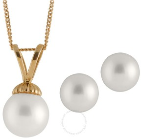 Bella Pearl 14K Gold Sliding Chinese Akoya Pearl Pendant and Earring Set