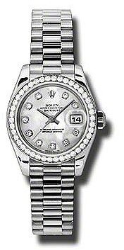 Rolex Lady-Datejust 26 Mother Of Pearl Dial Platinum President Automatic Ladies Watch